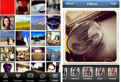 Interface d'Instagram