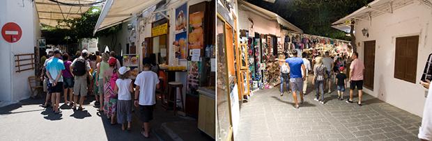 Les boutiques de Lindos le jour et la nuit