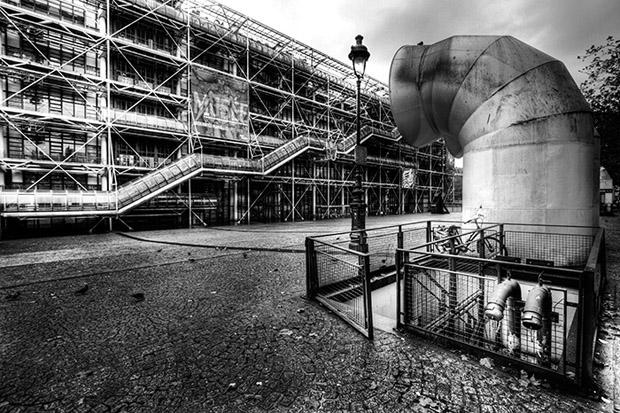Vue de Beaubourg au grand angle