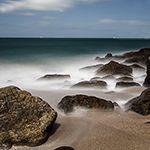 Pose longue sur la plage de Saint-Malo