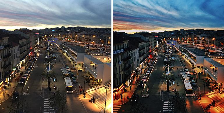 Avant et après retouches